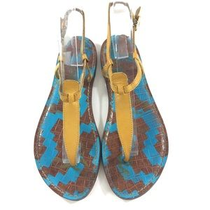Sam Edelman 7 Gigi Yellow Blue Brown Sandal